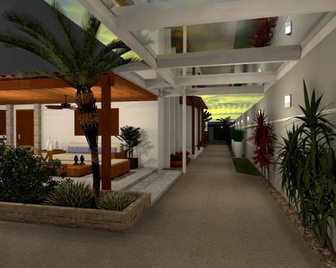 Espaço Gourmet, piscina e fachada – Residência RJ: Jardins modernos por Konverto Interiores + Arquitetura