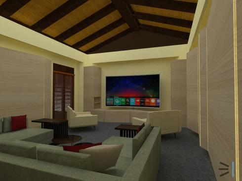 Media room:  de estilo  por Tres en uno design