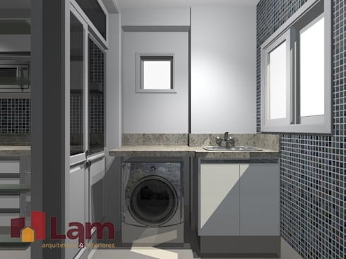 Área de Serviço - Projeto:   por LAM Arquitetura   Interiores