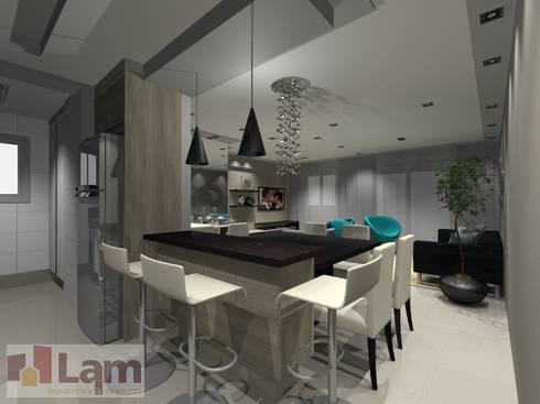Cozinha Integrada com a Sala - Projeto: Cozinhas modernas por LAM Arquitetura | Interiores