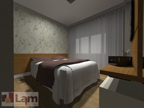 Dormitório - Projeto:   por LAM Arquitetura | Interiores