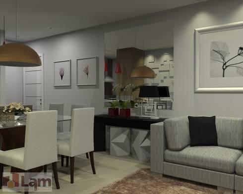 Sala Estar/Jantar - Projeto:   por LAM Arquitetura | Interiores
