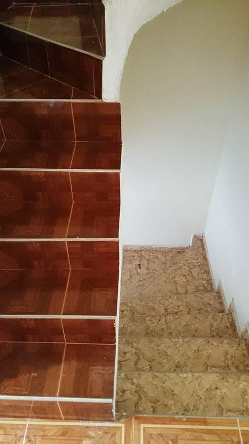 ESCALERAS INTERIORES 1ERA - 2DA PLANTA: Pasillos y vestíbulos de estilo  por MVP arquitectos
