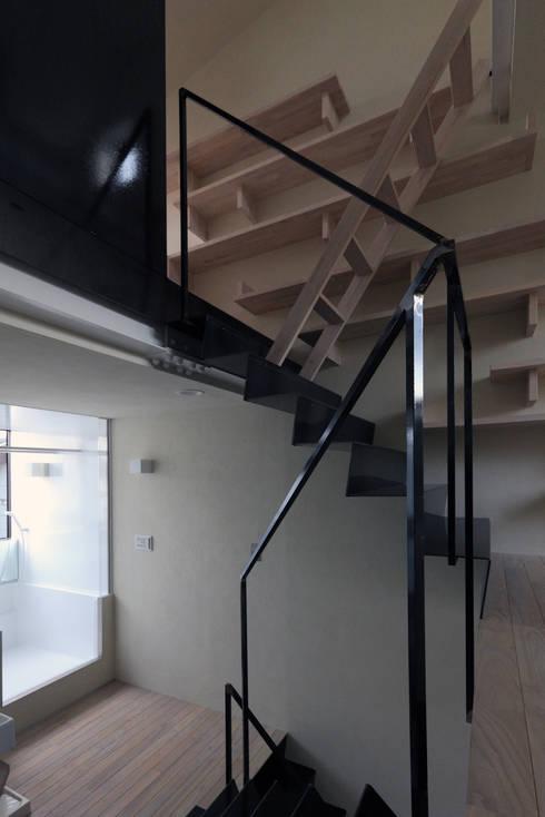 階段: 濱嵜良実+株式会社 浜﨑工務店一級建築士事務所が手掛けた廊下 & 玄関です。