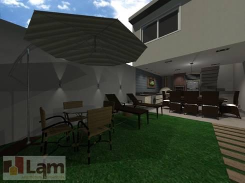 Varanda - Projeto:   por LAM Arquitetura   Interiores