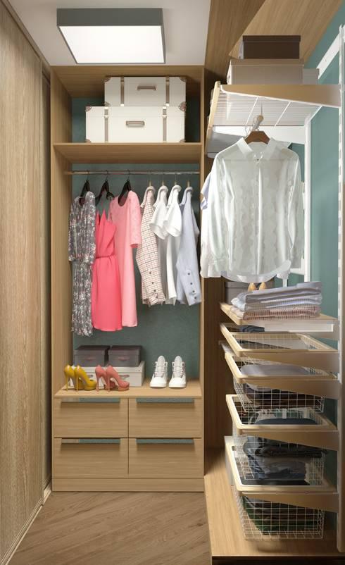 Проект квартиры для молодой пары с ребенком.: Гардеробные в . Автор – Katerina Butenko