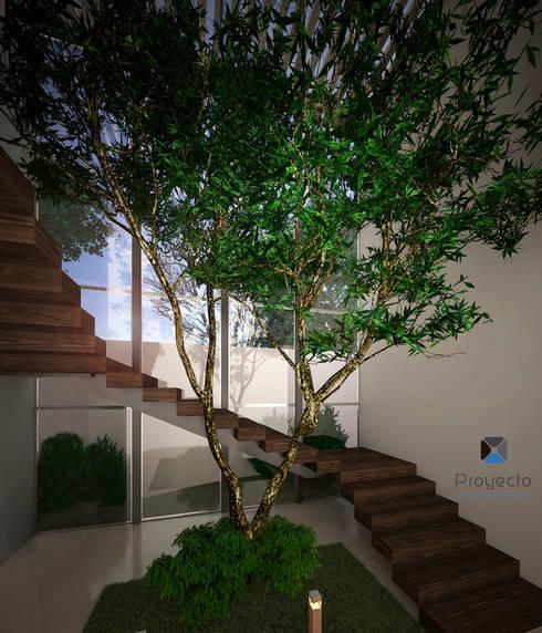 """Proyecto Arquitectónico """" Casa XC03""""       : Pasillos y recibidores de estilo  por PORTO Arquitectura + Diseño de Interiores"""