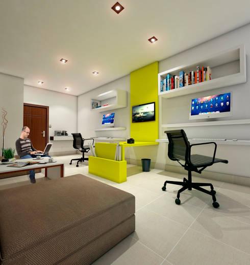Oficina de arquitectura: Estudios y oficinas de estilo minimalista por Estudio 26