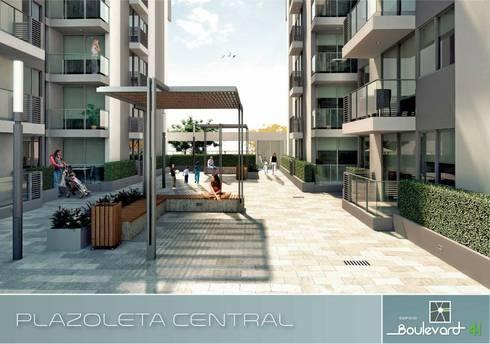 Plazoleta Central. : Casas de estilo moderno por Oleb Arquitectura & Interiorismo