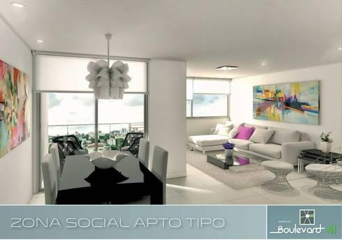 Apartamento Tipo: Salas de estilo moderno por Oleb Arquitectura & Interiorismo