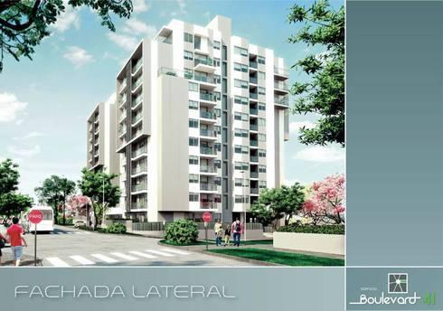 Fachada lateral: Casas de estilo moderno por Oleb Arquitectura & Interiorismo
