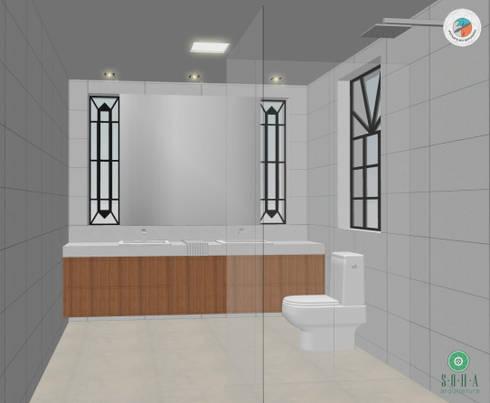 Casa Jardim paulistano projeto banho suíte casal:   por Bel e Tef Atelier da Reforma