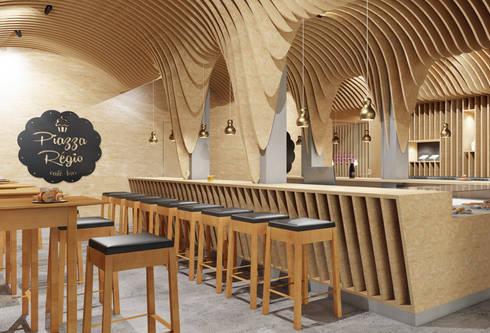 Piazza Régio Bar: Espaços de restauração  por ASVS Arquitectos Associados