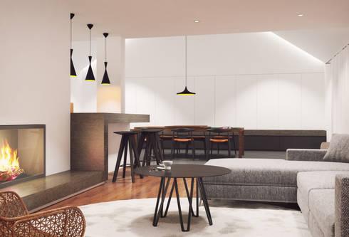 Habitação Verneuil, Clamart, França: Salas de estar modernas por ASVS Arquitectos Associados