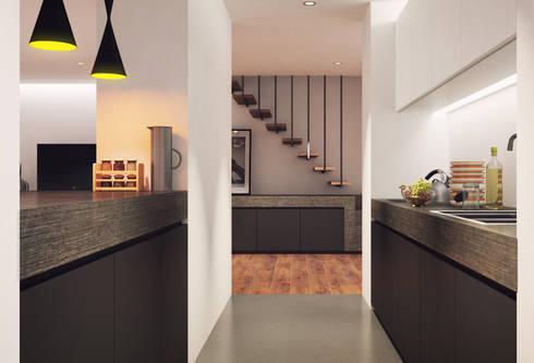 Habitação Verneuil, Clamart, França: Cozinhas modernas por ASVS Arquitectos Associados