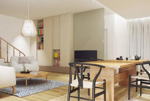 Casa na Póvoa de Varzim: Salas de estar modernas por ASVS Arquitectos Associados