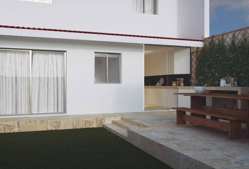 Casa na Póvoa de Varzim: Terraços  por ASVS Arquitectos Associados