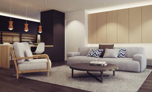 Apartamento em Gondizalves, Braga: Salas de estar modernas por ASVS Arquitectos Associados