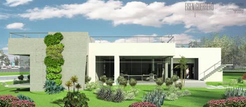 Vista Lateral Sur. Oficina Experience Center. 2015: Jardines de estilo escandinavo por Eisen Arquitecto