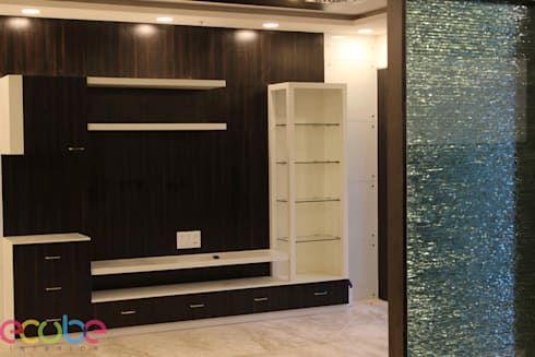 Residential Appartment @ Phoenix Market city—Chennai: country Media room by ECUBE INTERIOR SOLUTIONS PVT LTD