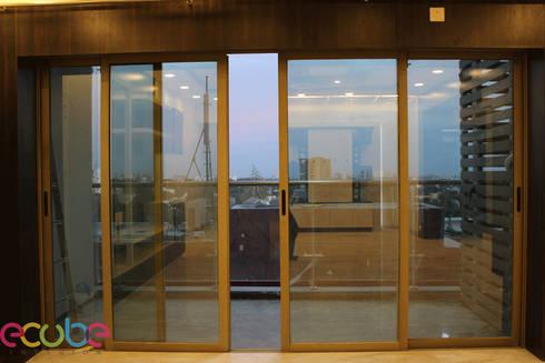 Residential Appartment @ Phoenix Market city—Chennai:  Terrace by ECUBE INTERIOR SOLUTIONS PVT LTD