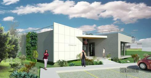 Vista Frontal. Oficina Experience Center. 2015: Casas de estilo minimalista por Eisen Arquitecto