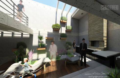 Vista desde nivel planta Baja al solarium y parrillera. Vivienda Nº11. Mañongo 2014 - 2015.: Casas de estilo minimalista por Eisen Arquitecto