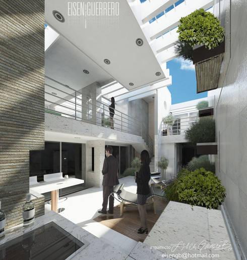 Vista desde nivel planta baja al solárium, pergola y terraza piso 1. Vivienda Nº11. Mañongo 2014 - 2015.: Terrazas de estilo  por Eisen Arquitecto