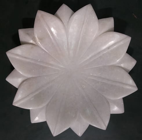 "12"" white marble lotus leaf fruit bowl:  Household by india stone"