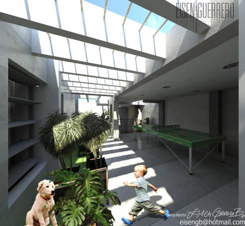 Vista Nivel Sala de juegos. Vivienda Nº11. Mañongo 2014 - 2015.: Terrazas de estilo  por Eisen Arquitecto