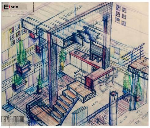 Perspectiva Isometria Boceto inicial a mano alzada del proyecto remodelación patio, 2014 . Vivienda Nº11. Mañongo 2014 - 2015.: Terrazas de estilo  por Eisen Arquitecto