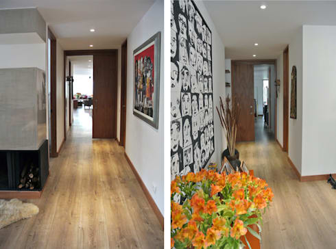 Acceso Zona Privada: Pasillos y vestíbulos de estilo  por KDF Arquitectura