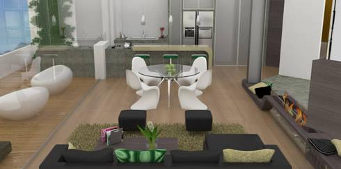 APARTAMENTO MUSEO: Comedores de estilo moderno por santiago dussan architecture & Interior design