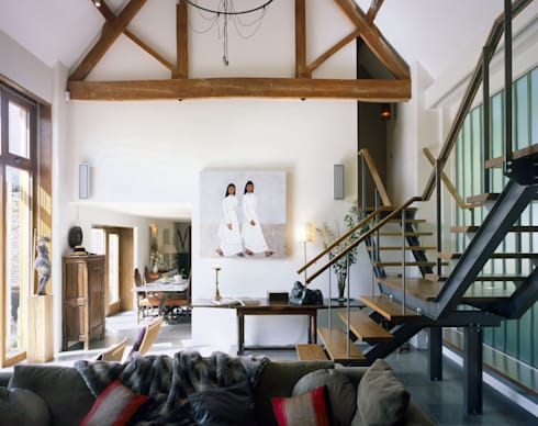 KSR Architects | Luxury barn conversion | Central circulation space: rustic Corridor, hallway & stairs by KSR Architects