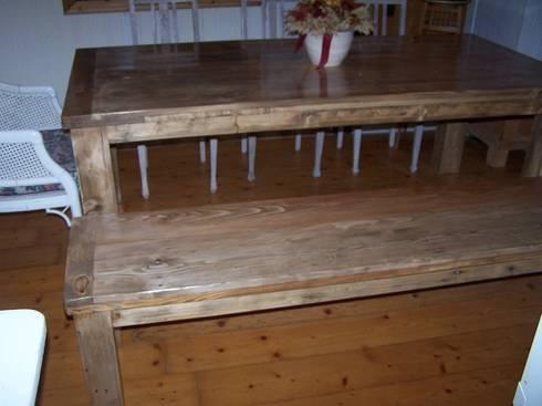 massiver esstisch passende bank aus palettenholz von. Black Bedroom Furniture Sets. Home Design Ideas