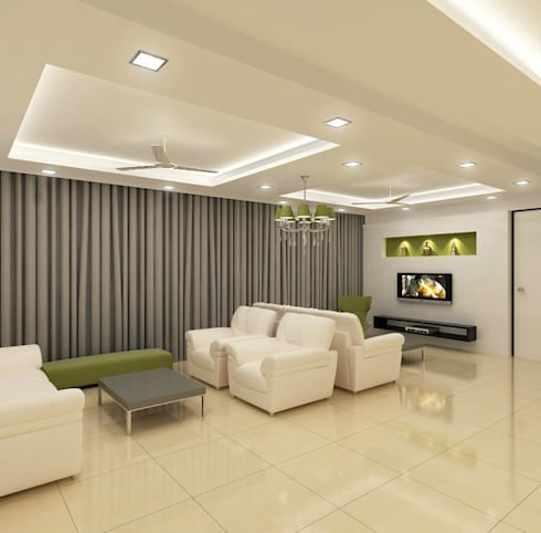 Residential project: modern Living room by Kunal & Associates