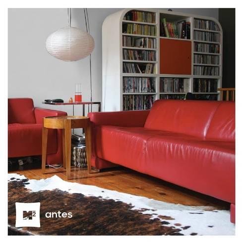 Sala de estar Santa Catarina antes & depois:   por Metros Menos Quadrados