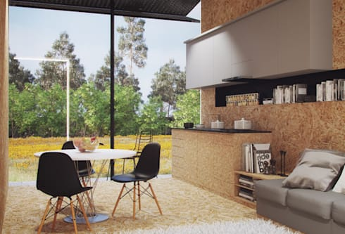 Casas modulares: Cozinhas minimalistas por ASVS Arquitectos Associados