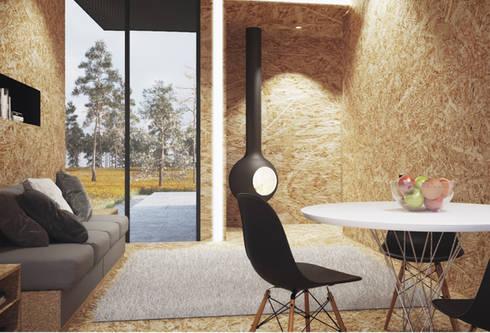 Casas modulares: Salas de estar minimalistas por ASVS Arquitectos Associados
