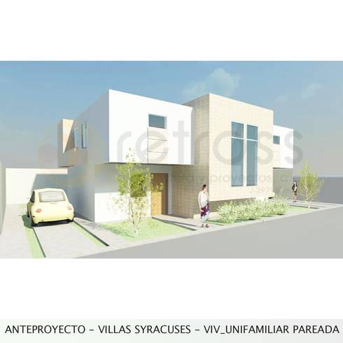 Vivienda unifamiliar pareada: Casas de estilo minimalista por retross arquitectura y proyectos