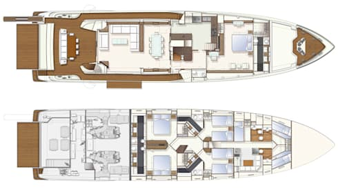 Yacht Custom Line 100: Casa  por Silvia Costa    Arquitectura de Interiores