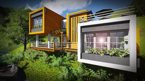 Contraste en el color... Limpieza en las formas.: Casas de estilo minimalista por John J. Rivera Arquitecto