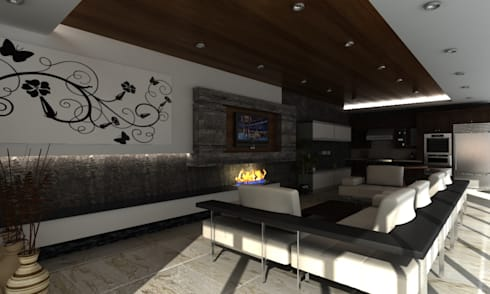 SALA DE ENTRETENIMIENTO: Salas de estilo moderno por OLLIN ARQUITECTURA