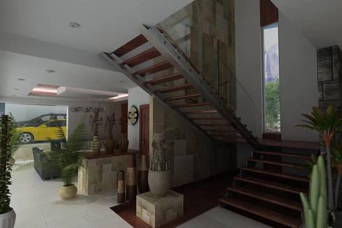 RESIDENCIA SINALOA: Pasillos y recibidores de estilo  por OLLIN ARQUITECTURA