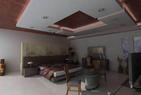 RESIDENCIA SINALOA: Recámaras de estilo moderno por OLLIN ARQUITECTURA