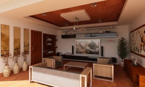 RESIDENCIA SINALOA: Salas multimedia de estilo moderno por OLLIN ARQUITECTURA