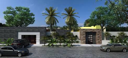 FACHADA EXTERIOR: Casas de estilo moderno por OLLIN ARQUITECTURA