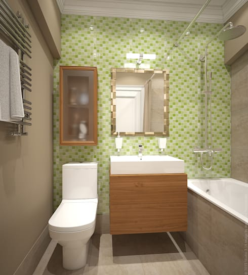 Ванная. Два этажа уюта: Ванные комнаты в . Автор – «Студия 3.14»