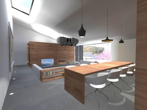 Casa J: Salas de jantar minimalistas por Colectivo de Melhoramentos