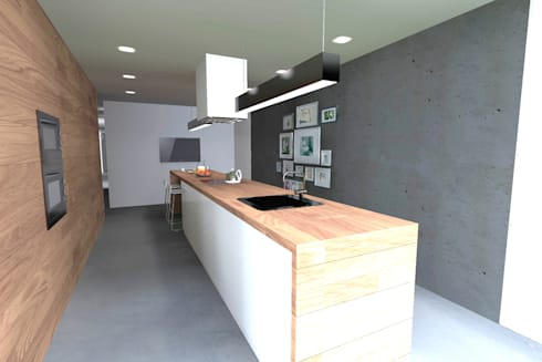 Casa J: Cozinhas minimalistas por Colectivo de Melhoramentos